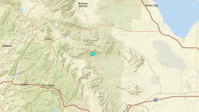 Location of earthquake in east San Diego County