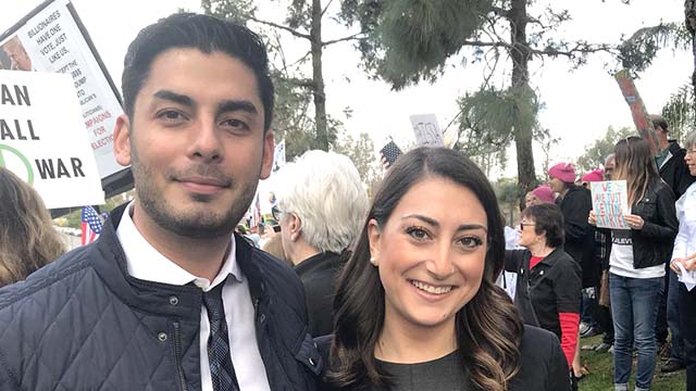 Ammar Campa-Najjar and Sara Jacobs were photographed at a public rally.