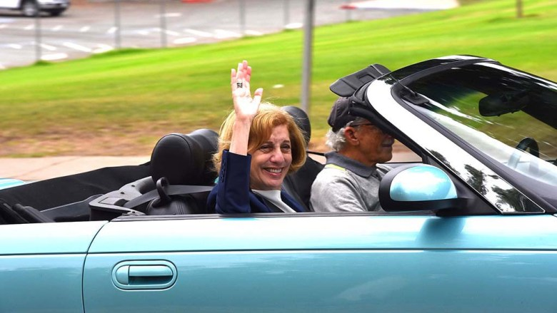 San Diego City Councilwoman Barbara Bry helps lead a caravan through Balboa Park 11 days before the election.