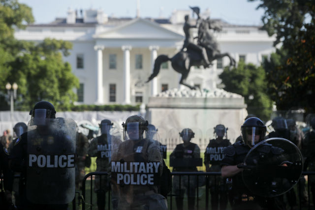 Military police outside the White House