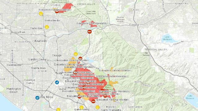 Evacuation areas in Orange County