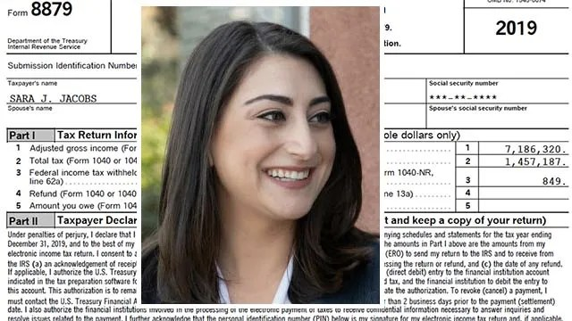 Sara Jacobs' 2019 federal tax returns shows she had an adjusted gross income of $7.18 million.
