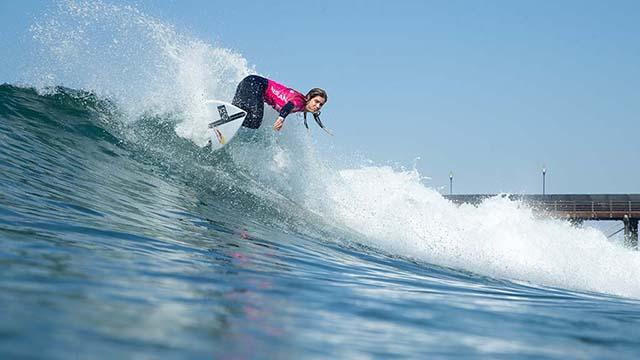 Caroline Marks took first among Championship Tour entrants at the Nissan Super Girl Surf Championship at the Oceanside Pier.