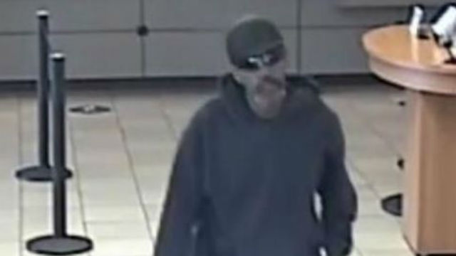 Surveillance photo of bank robbery suspect