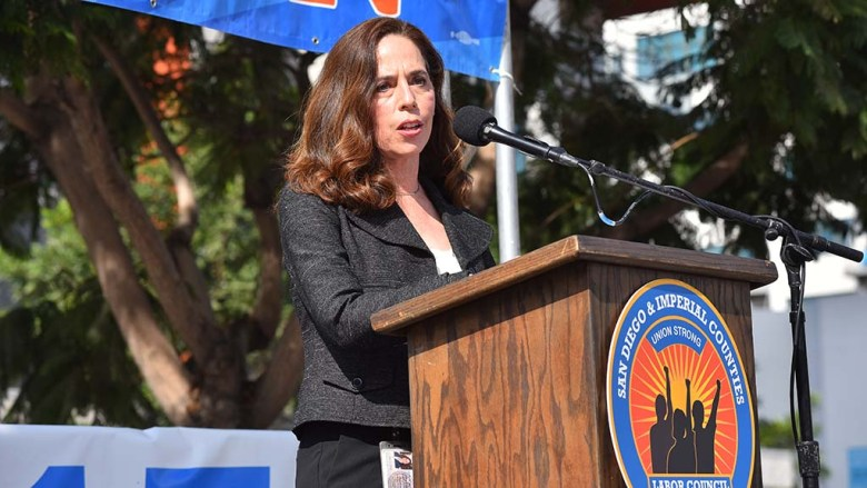 San Diego City Attorney Mara Elliott addresses union members as she seeks re-election.