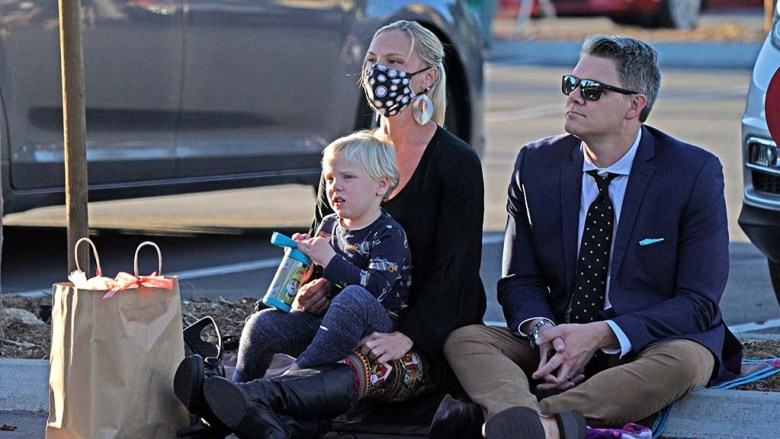 """Francesca Weaver, her husband and son, Rowan, got front row positions to watch the San Diego Ballet's """"Nutcracker"""" at Liberty Station."""