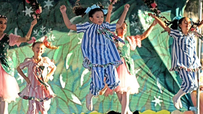 """Students of the San Diego Ballet School perform as Ginger Snaps in an outdoor show of """"Nutcracker"""" at Liberty Station."""