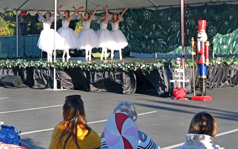 """The audience sat in lawn and beach chairs as watched a one-hour performance of San Diego Ballet's """"Nutcracker"""" at Liberty Station."""