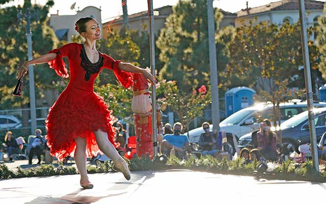"Erin Mesaros performs in the drive-in performance of ""The Nutcracker"" at Liberty Station."
