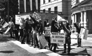 White supremacists gathered outside Portland City Hall on May 5, 1991, to protest the civil trial ruling against Tom Metzger.
