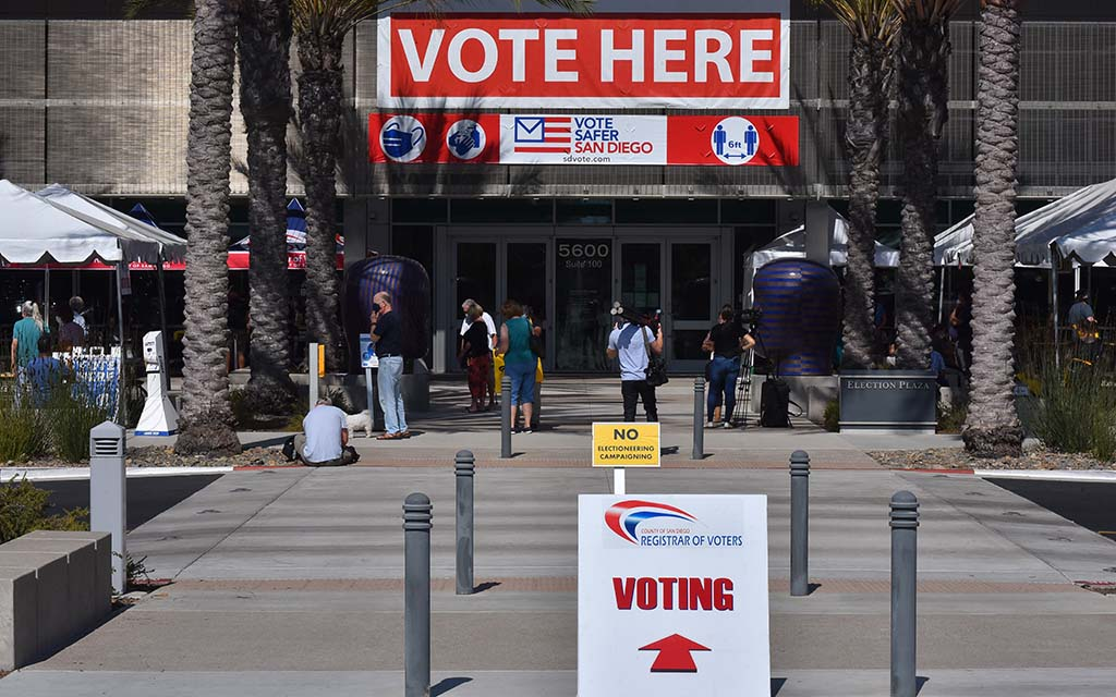 Early voting continues at the San Diego County Registrar of Voters in Kearney Mesa.