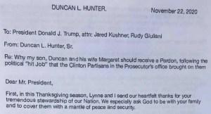 Duncan Lee Hunter letter to White House seeking pardon for Duncan and Margaret Hunter.