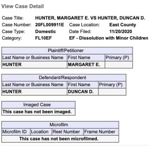 San Diego Superior Court summary of Margaret Hunter divorce filing.