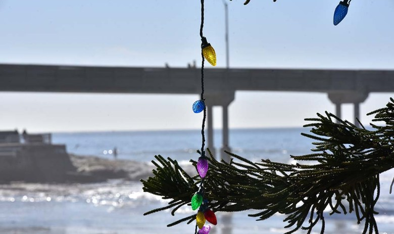 This year's Ocean Beach Christmas tree was set up and decorated on Dec. 1 and Dec. 2.