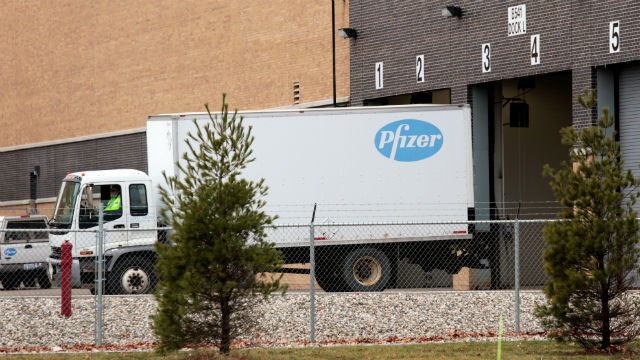 Truck at Pfizer plant in Michigan