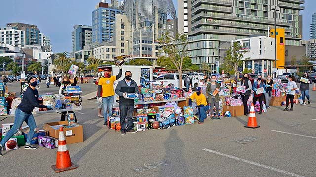 United Way and San Diego-Imperial Labor Council did Food & Toy distribution at Petco Park.