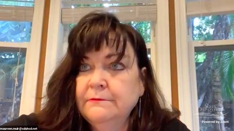 """Board President Maureen """"Mo"""" Muir attends San Dieguito Union High School District board meeting remotely."""