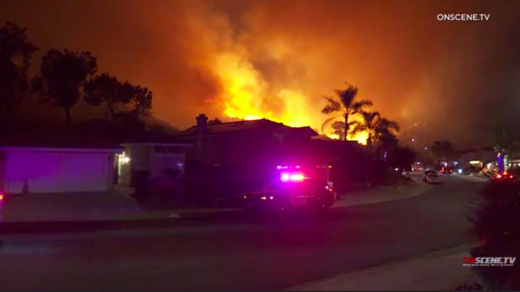 Rancho San Diego fire led to evacuations of the 2500 block of Wind River Road. Image via OnScene.TV