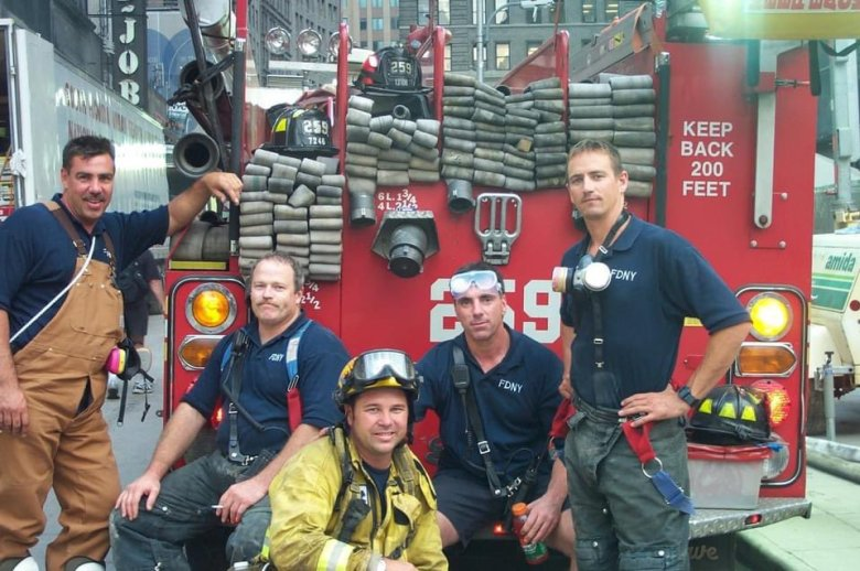 Chris Mertz with other firefighters
