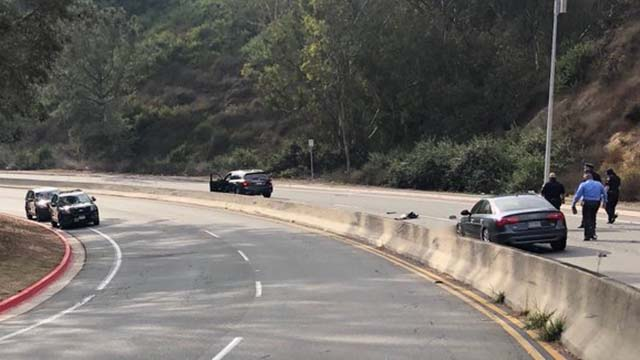 Scene of fatal motorcycle accident on Torrey Pines Road.