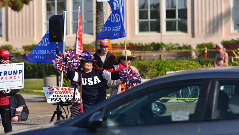 Hundreds of President Donald Trump supporters protested in front of the San Diego County Administration Building Jan. 6.