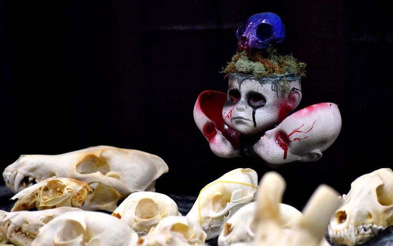 Animal skulls and scary baby figures were seen at a number of booths at the Oddities and Curiosities Fair in Del Mar.