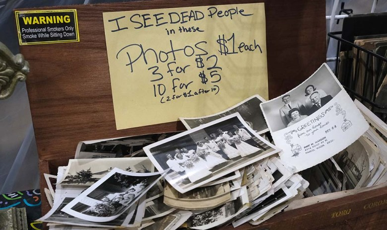 Photos of deceased people were offered for sale at a booth at the Oddities and Curiosities Fair in Del Mar.