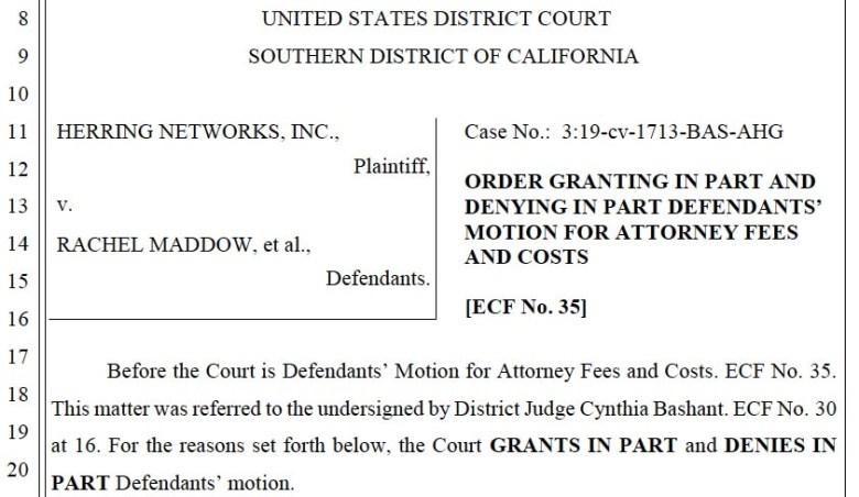 Judge Goddard's award of attorney fees to Rachel Maddow's defense team.