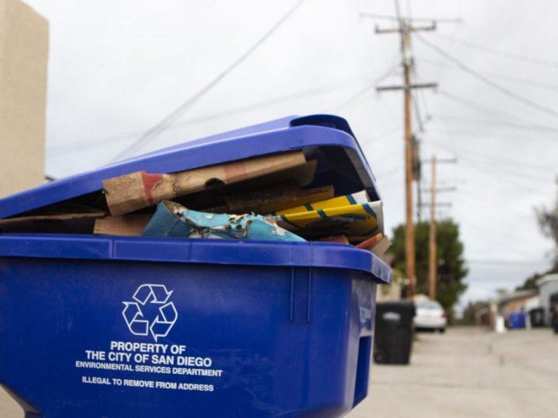 A San Diego recycling bin