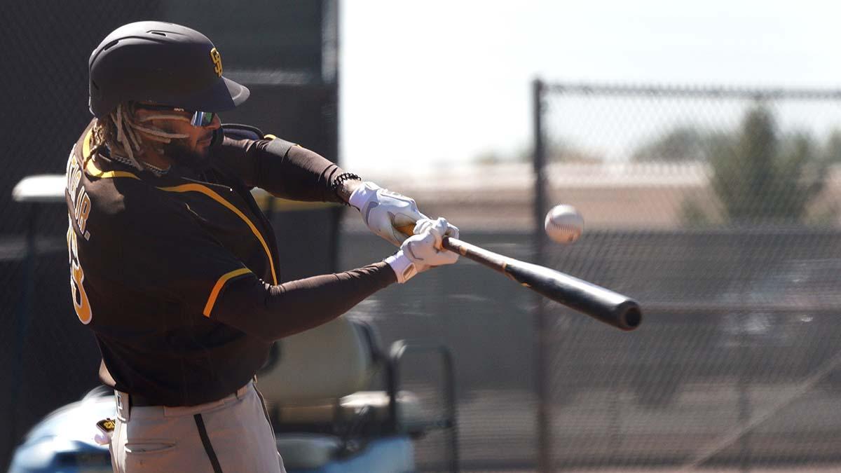 Padre star Fernando Tatis Jr. connects during batting practice.