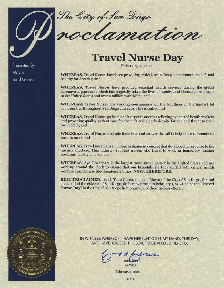 Travel Nurse Day Proclamation
