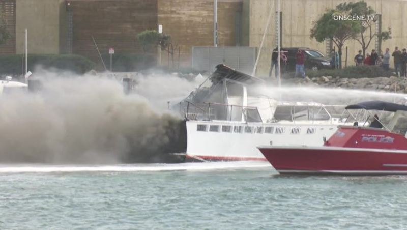 Smoke from burning boats