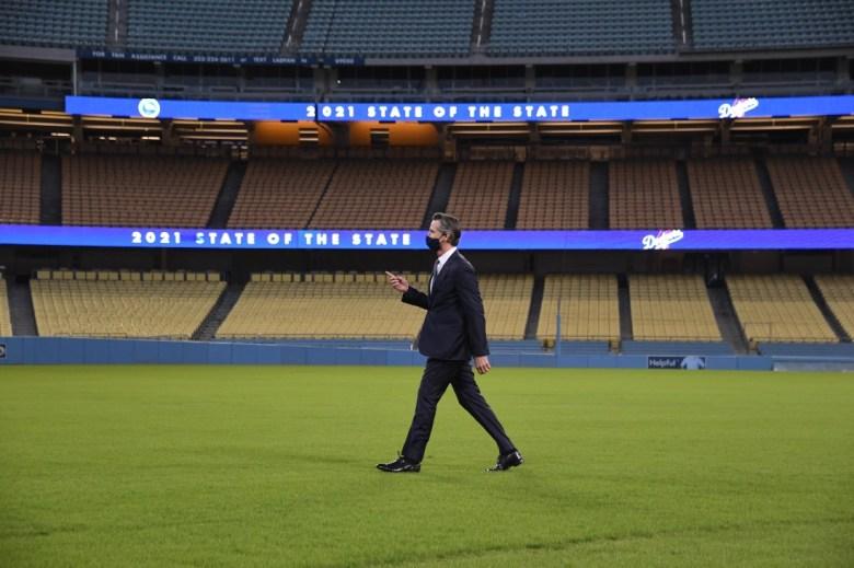 Gavin Newsom in Dodger Stadium