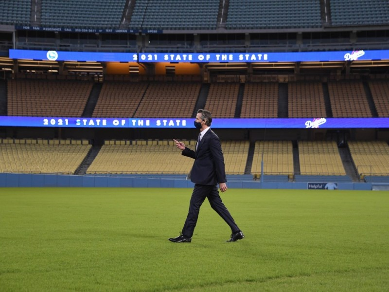 Gavin Newsom in Dodger Stadium