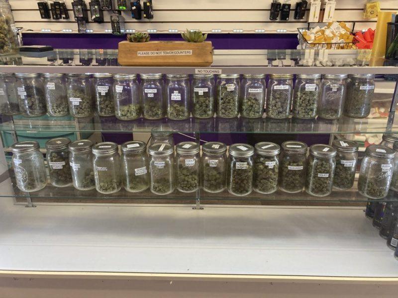 Marijuana on display at the illegal dispensary