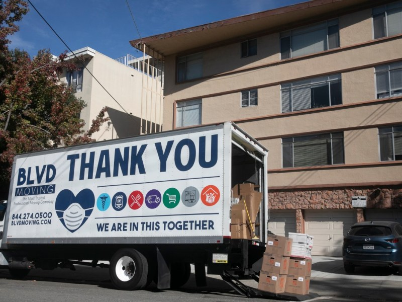A moving truck in Oakland
