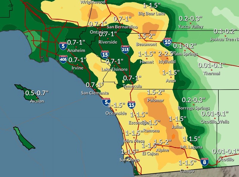 Rainfall amounts during upcoming storm