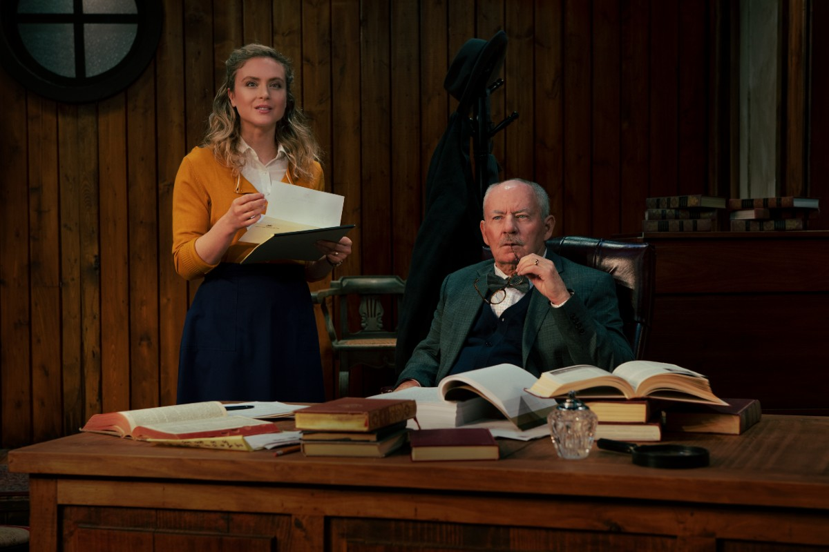 """Emily Goss and James Sutorius in """"Trying"""""""