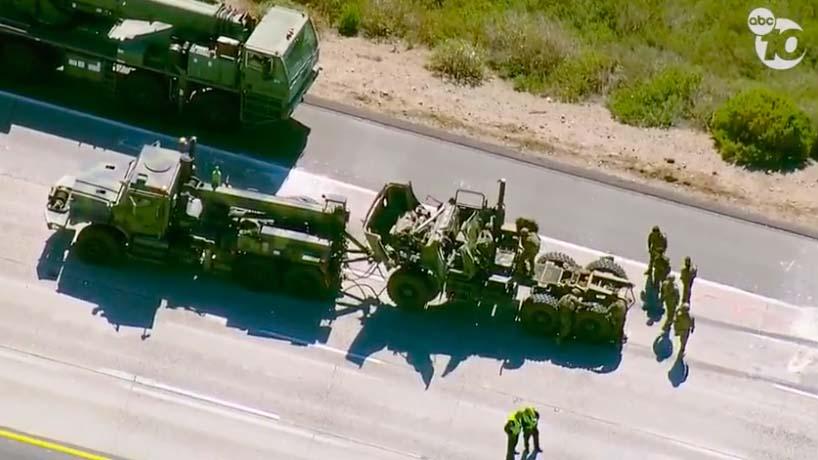 Scene of Interstate 5 crash involving Navy Seabees.