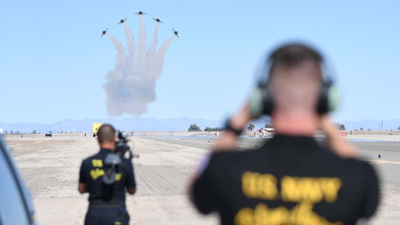 The Blue Angels conduct winter training at Naval Air Facility El Centro. The Imperial Valley base will host the first-ever radio broadcast of its inaugural Festival of Flight.
