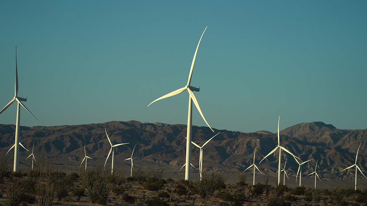 Wind turbines spin at the Ocotillo facility in Imperial County.