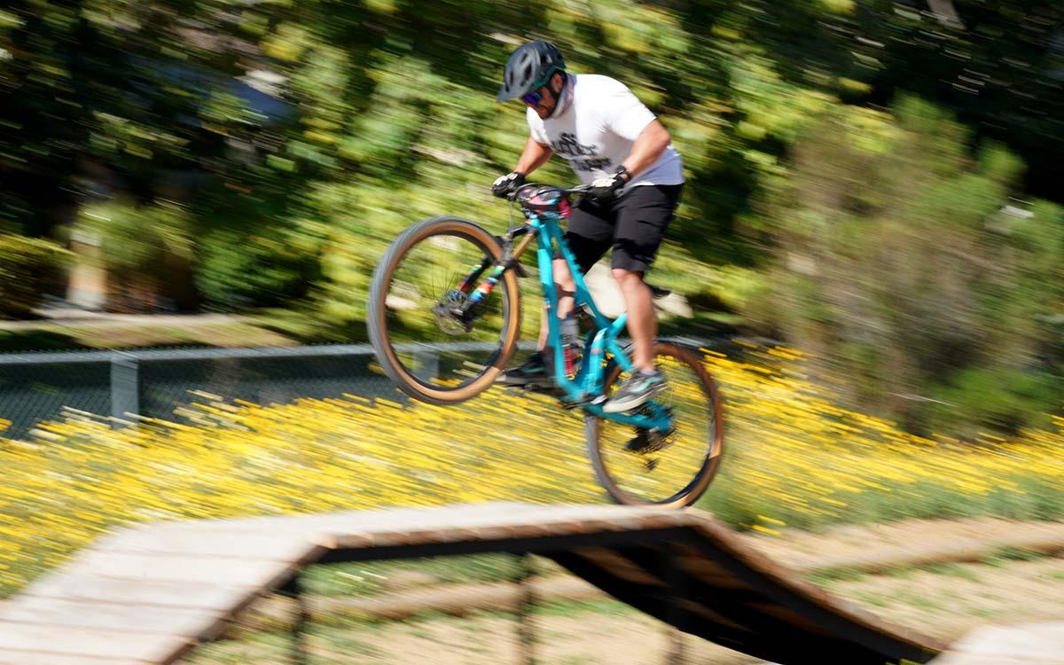 Jason Decker, 36, of Chula Vista gets some air at bike park.