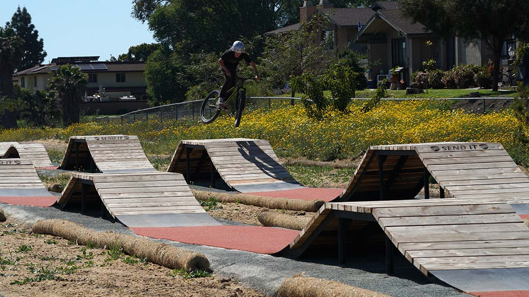 Young people tried out bike park.