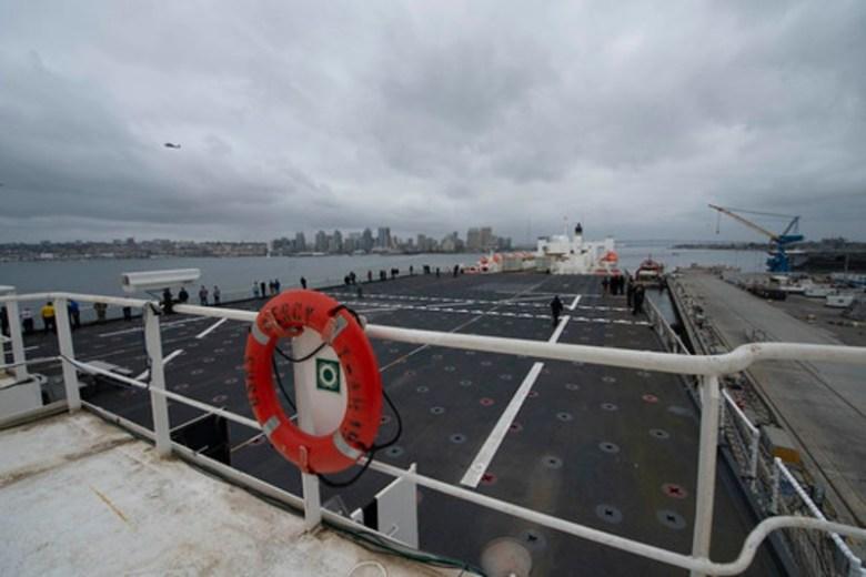 USNS Mercy departs San Diego