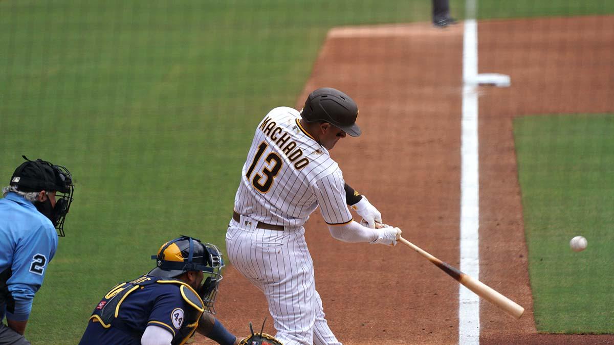 Manny Machado takes a swing.