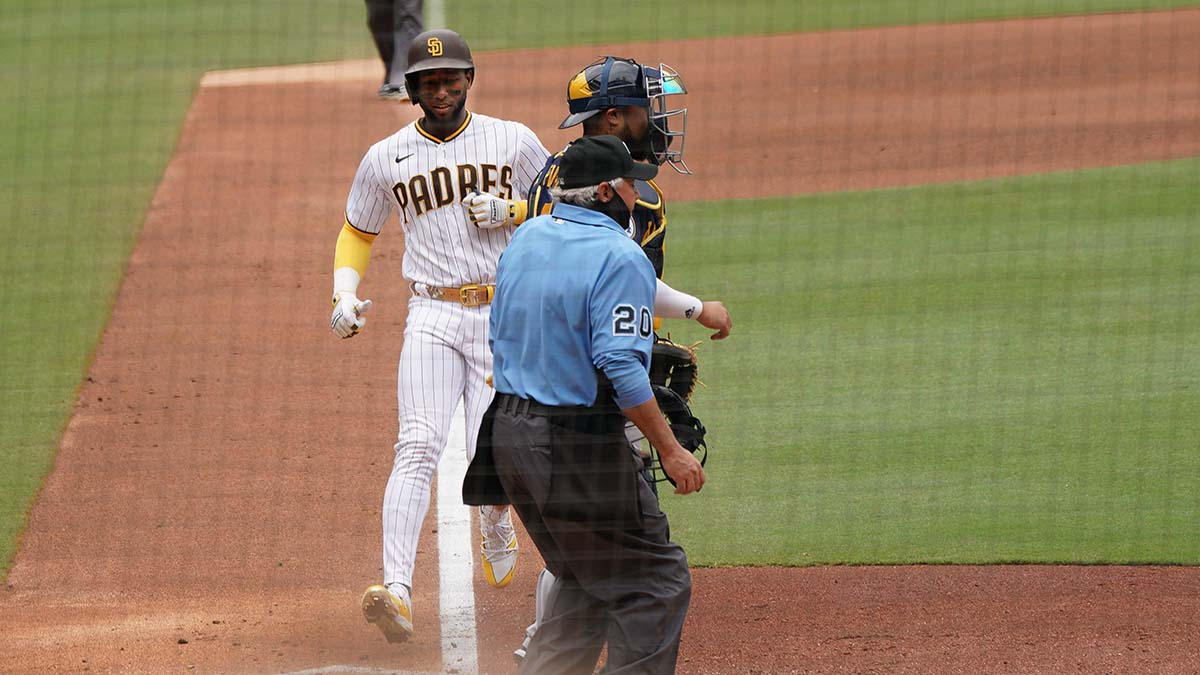 Jurickson Profar scored one of two Padre runs.