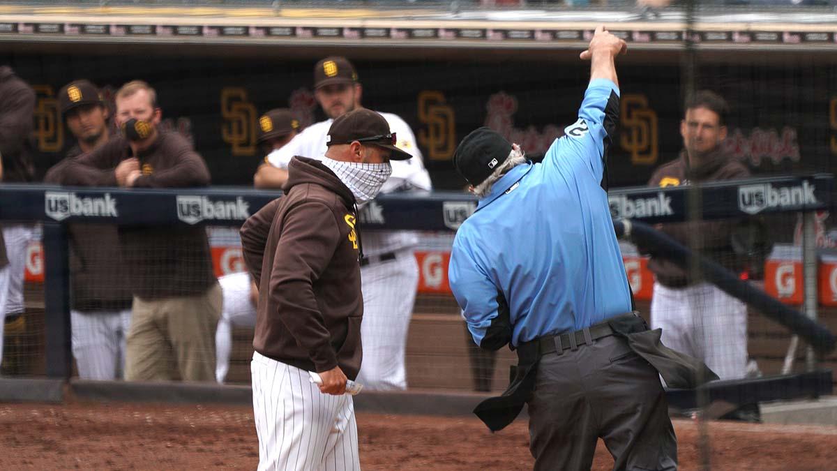 Padre Skipper Jayce Tingler gets ejected.