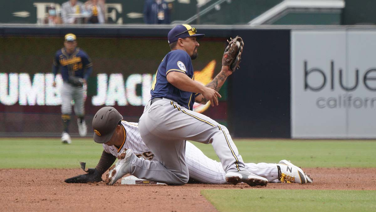 Trent Grisham steals second base. Photo by Chris Stone