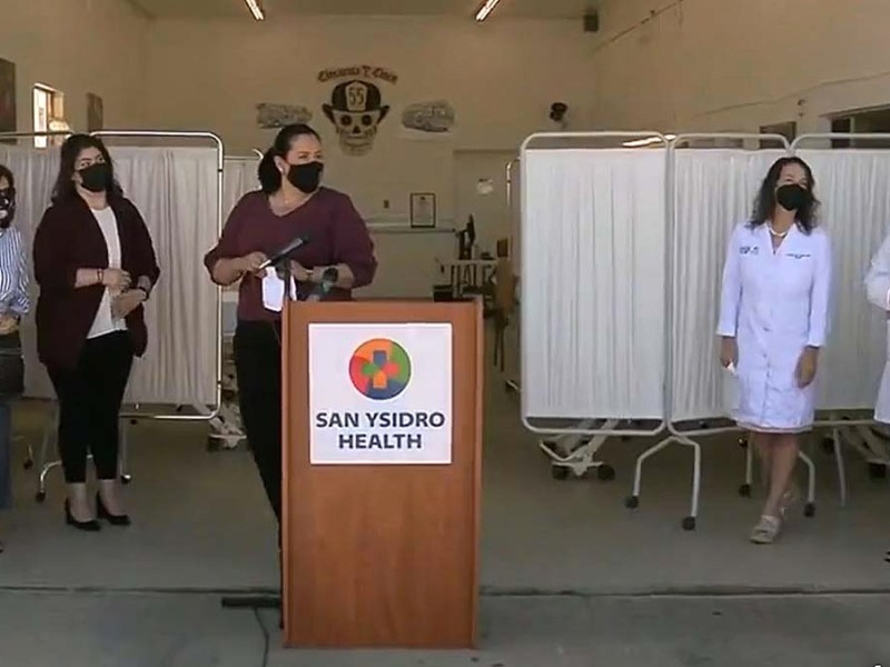 Chula Vista, county officials and San Ysidro Health Center staff discuss the new monoclonal antibody treatment center at a press conference. Screenshot from ABC 10 pool video