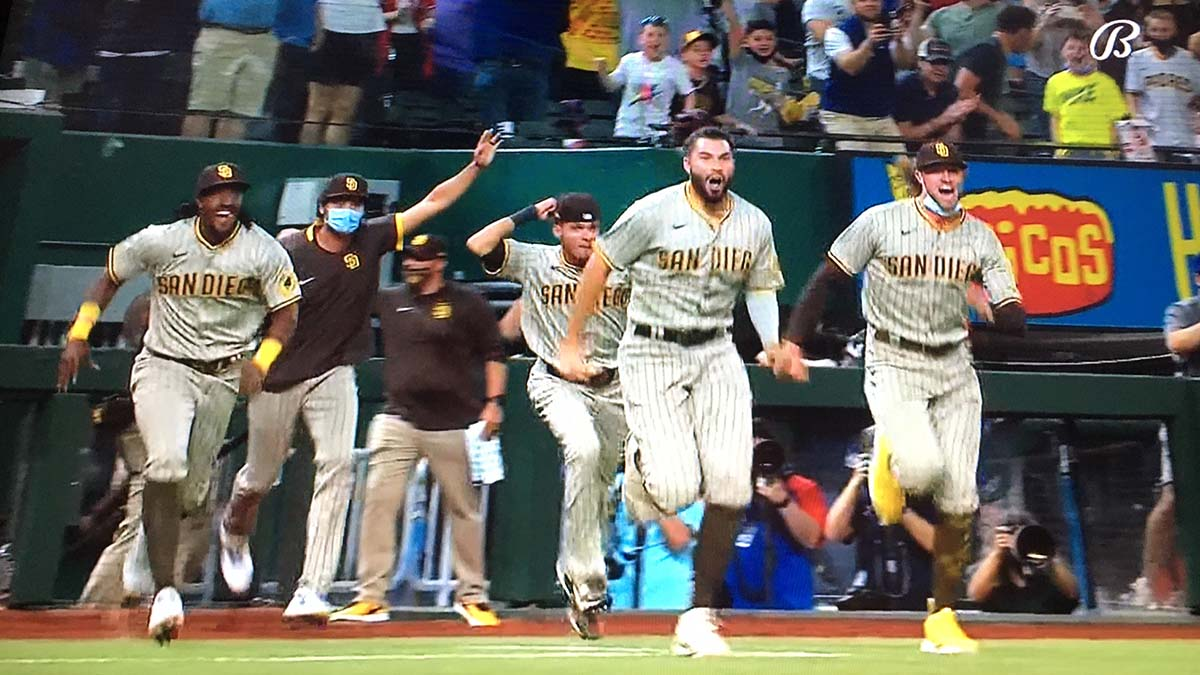 Padres celebrate first no-hitter in club history, stretching back more than 8,000 games to 1969.